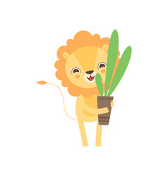 Cute lion holding flower pot with houseplant vector