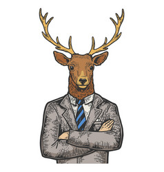deer businessman color sketch engraving vector image