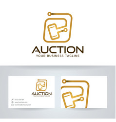 Digital auction logo template vector