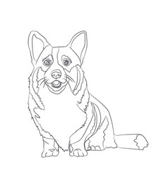 dog sitting lines vector image