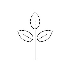 dotted shape natural plant with leaves design to vector image