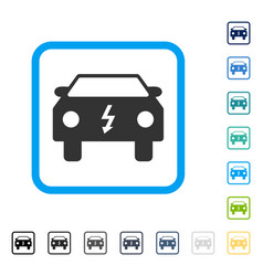 Electric car framed icon vector