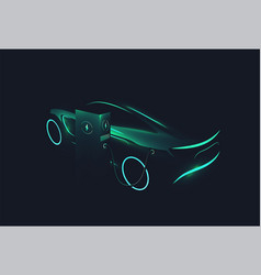 Electric concept car green glowing silhouette vector