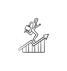 employee running up hand drawn sketch icon vector image