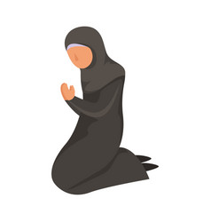 Female muslim prays in a traditional ethnic black vector