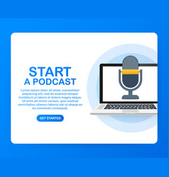 Flat concept podcasting internet digital vector
