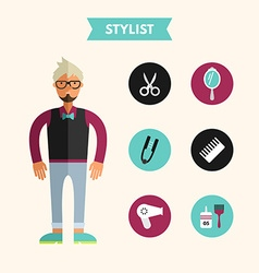 Flat Design of Stylist with Icon Set Infographic vector image