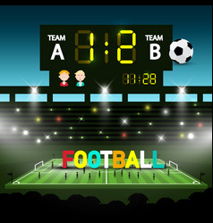 football team match on soccer stadium evening vector image