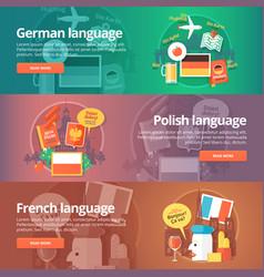 foreign languages learning banner set design vector image