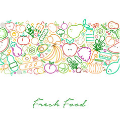 fresh food concept with organic line icons menu vector image