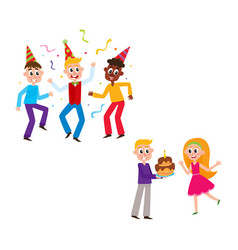 friends dancing boy giving birthday cake to girl vector image