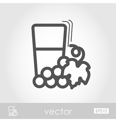 Glass fresh grape juice outline icon Thanksgiving vector
