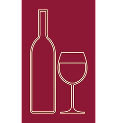 glass wine and bottle vector image