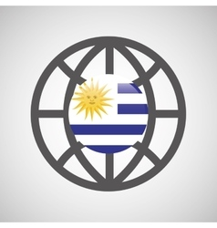 globe sphere flag uruguay country button graphic vector image