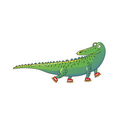 Green crocodile riding roller-skates humanized vector