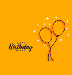 Happy birthday flat style line balloons background vector