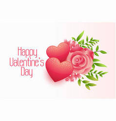happy valentines day hearts and flower background vector image