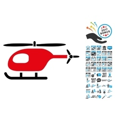 Helicopter Icon with 2017 Year Bonus Symbols vector image