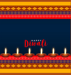 Hindu diwali festival ethinc style greeting design vector