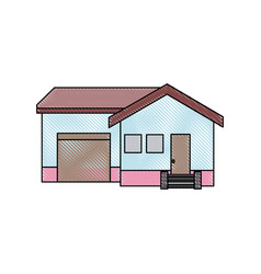 House with garage stairs door architecture vector