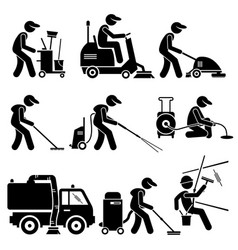 Industrial cleaning worker with tools vector