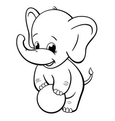 Infant elephant playing with ball coloring book vector