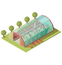 Isometric greenhouse farm building isolated icon vector