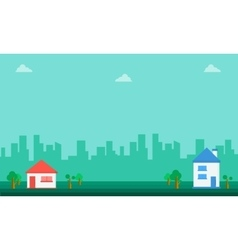 Landscape of house and tree flat vector image