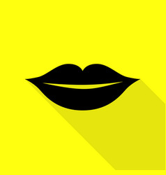 lips sign black icon with flat style vector image