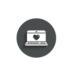 Love dating simple icon heart in notebook sign vector