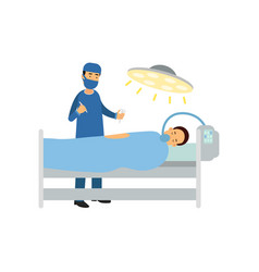 Male surgeon with medical instruments patient vector