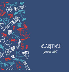 Maritime yacht club poster vector
