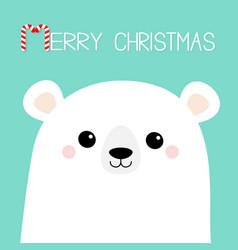 merry christmas candy cane polar white bear cub vector image