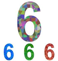 Mosaic font design set - number 6 vector image