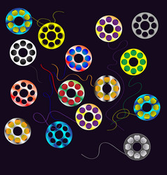 multicolored bobbins for yarn vector image