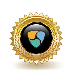 Nem cryptocurrency coin gold badge vector