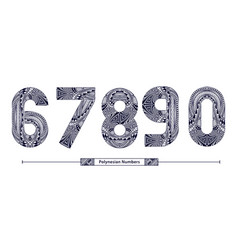 numbers polynesian style in a set 67890 vector image
