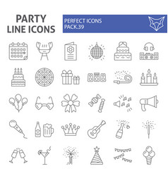 party thin line icon set celebration symbols vector image
