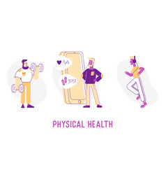Physical health concept sportsmen exercising with vector