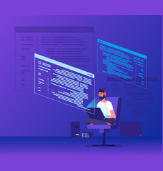 Programmer coding young man freelancer working on vector