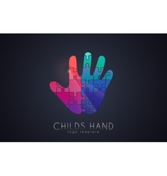 puzzle hand Childs hand logo Creative logo vector image