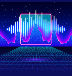 Retro gaming neon background with shiny music wave vector