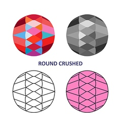 Round crushed gem cut vector