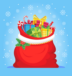 santa claus gifts in bag christmas presents sack vector image
