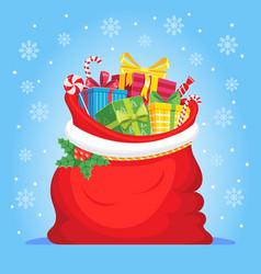 Santa claus gifts in bag christmas presents sack vector