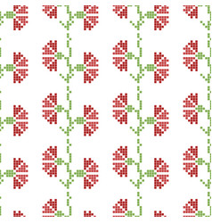 Seamless cross stitches flowers pattern on white vector