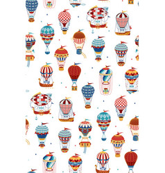 Seamless pattern with hot air balloons isolated vector