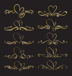 set heart decorative calligraphic elements vector image