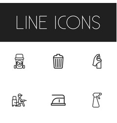 Set of 6 editable cleaning outline icons includes vector