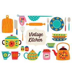 set of isolated vintage kitchen utensils part 1 vector image